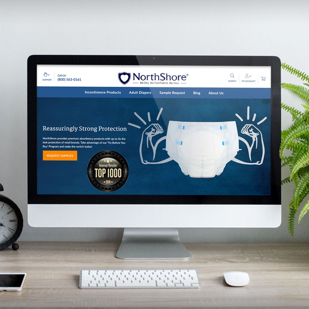 NorthShore's new website homepage with strongman image