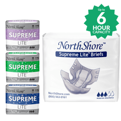 NorthShore Supreme Lite adult diapers in colors: purple, green, blue and white
