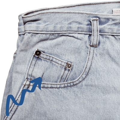 two blue arrows pointing to small jean pocket