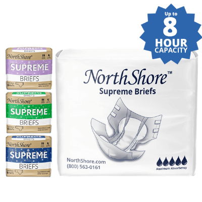 NorthShore Supreme adult diapers in colors: green, purple, blue and white