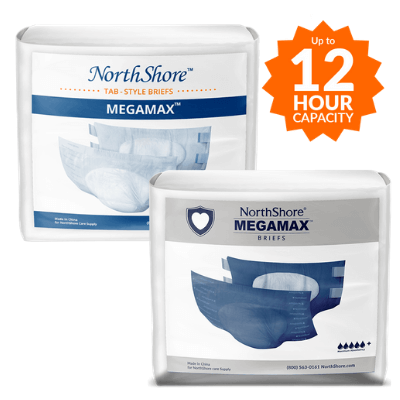NorthShore MEGAMAX adult diapers in white and blue