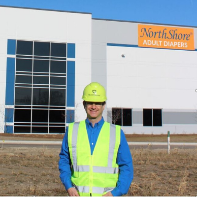 NorthShore Founder, Adam Greenberg in front of new Headquarters in Green Oaks, Illinois