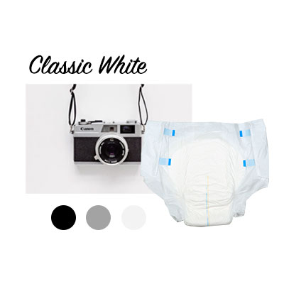 A camera and white NorthShore Supreme adult diaper