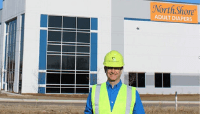 Founder Adam Greenberg wearing a hard hat Green Oaks, Illinois