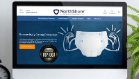 NorthShore's new homepage design with strongman arms