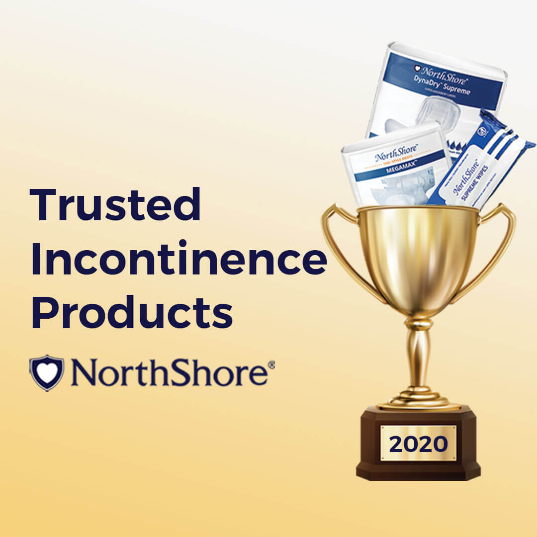 Trusted Incontinence Products banner with trophy