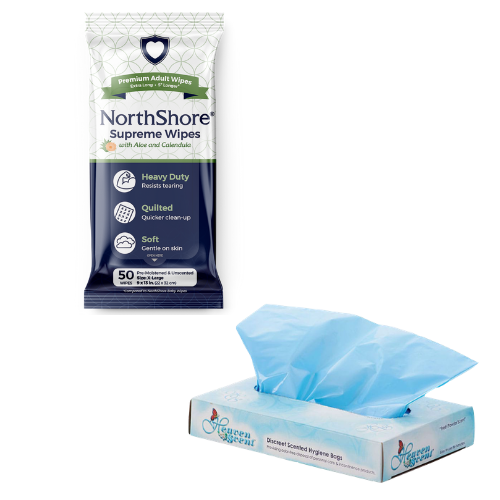 NorthShore Supreme Wipes and Heaven Scent disposal bags