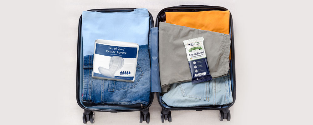 Luggage with NorthShore DynaDry and Adult Wipes