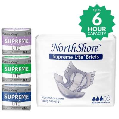 NorthShore Supreme Lite Tab-Style Briefs packages in the white blue, green and purple colors