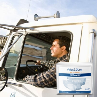 truck driver looking outside window with NorthShore MEGAMAX Briefs Package