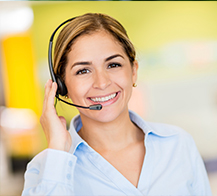 young female customer service representative wearing headset