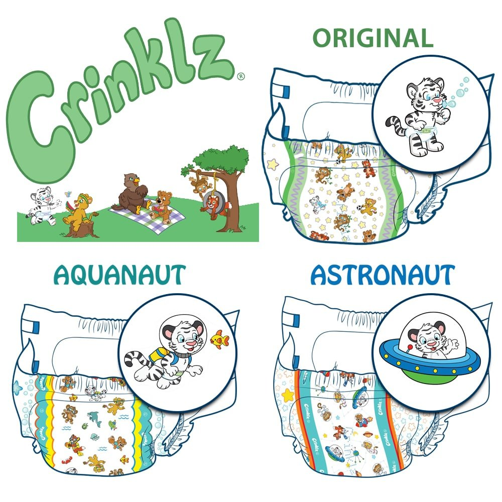 Crinklz Tab-Style Briefs Adult Printed Diapers