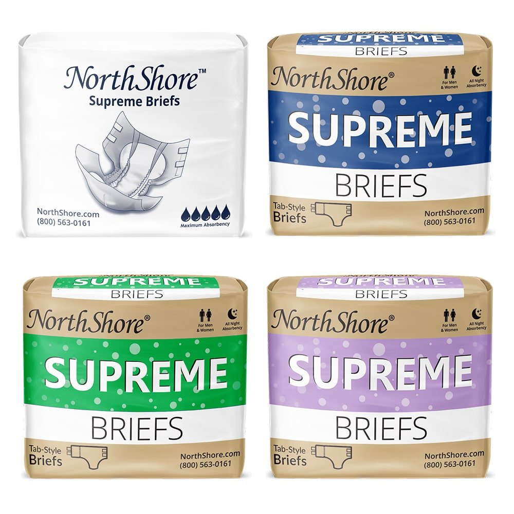 NorthShore Supreme adult diapers in blue, green, purple and white